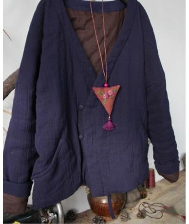 Women Cotton Linen Parkas Autumn Winter Original Solid Color Cotton-padded Clothes Women Thick Coat - Blue - 4N3943207405-1