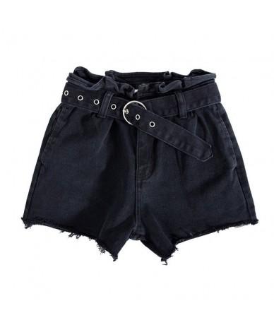 Summer New Edge High Waist Belt Women's Cowboy Shorts Cowboy Woman Denim Shorts - black - 413977614255-1