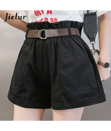 Summer Wide Leg Shorts Streetwear Women Casual Loose Young Short Elastic Buds High Waist Solid Color Spodenki Damskie - Blac...