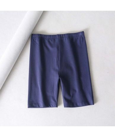 sexy women cotton high waist elastic pure color slim short leggings female - lan - 493034863669-2