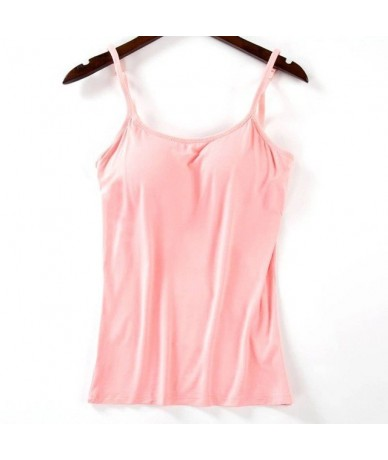 Women Spaghetti Cami Top Vest 2019 Women Padded Bra Tank Top Female Camisole With Built In Bra - Pink - 413089514860-4