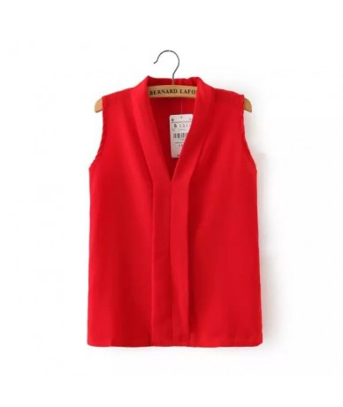 Women Plus Size V Neck Summer Blouses Low Cut Sleeveless Shirts Blusas Femininas European Casual Tops Solid Tee - Red - 4R38...