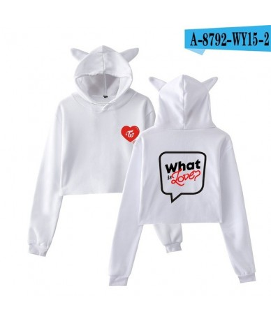 Kawaii Cat Ears Hoodies Women Kpop Twice Lovely Sexy Cropped Twice What Is Love Album Crop Tops Fans Sweatshirt - White - 4L...
