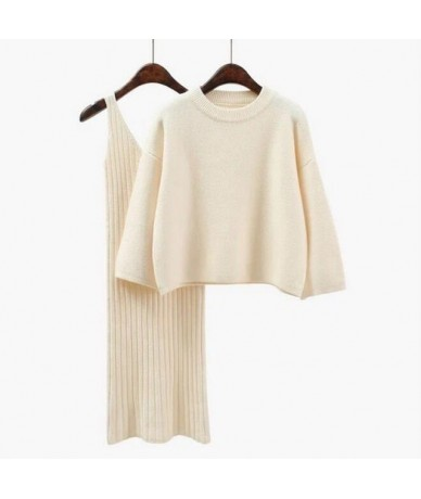 2018 Autumn Womans Sweater + Straped Dress Sets Solid Color Female Casual Two-Pieces Suits Loose Sweater Knit Mini Dress Win...