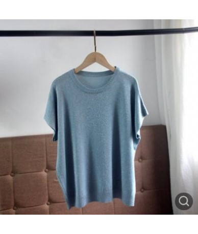 Trendy Summer Autumn Women Casual Short Sleeve Sequins Shinny Tops O-neck Knitwear Loose Pullovers Jumper Pull QH1890 - blue...
