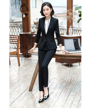 Pant Suits Women 2 Piece Blazer Set Office Lady Business Work Formal Trousers Jacket Women's Uniform Korean Clothes Large 4X...