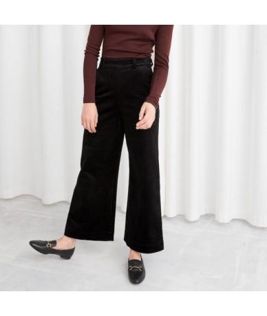 2019 autumn women corduroy blazer thick Retro Double Breasted Blazer office Coats Suits Women Outerwear - Black Pants - 4Z30...