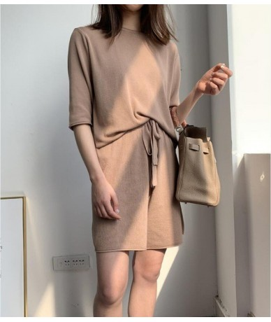 Summer leisure suit women solid color T-shirt + pants knitted suits - Brown - 4Z3005368267-1