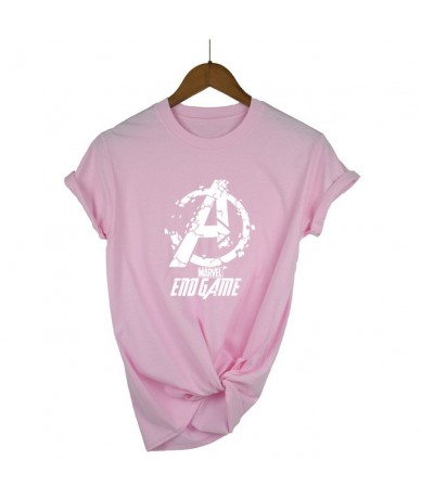 END GAME MARVEL t Shirt woman cotton short sleeves Casual male tshirt marvel shirts tops Graphic Tees plus size - pink - 4V4...