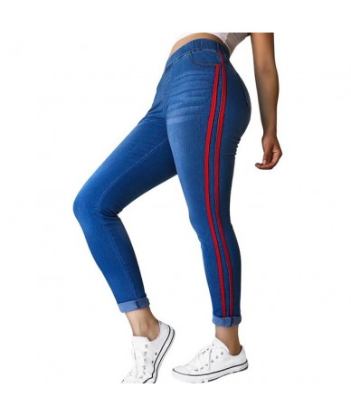 2019 Womens Jeans High Waist Side Striped Trousers Patchwork Straight Jeans Matched Casual Pants Slim Jeans Plus Size 4XL - ...