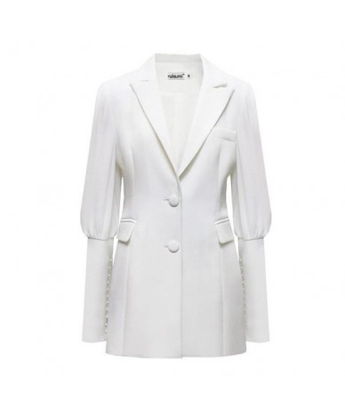 Women Blazer Single Breasted Long Sleeve Ladies White Blazer Coat Elegant Women's Slim Suit Jacket Long Women Jacket - white...