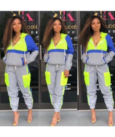 2019 Spliced Fashion 2 Pieces Set Women Tracksuit Plaid Sweatshirt + Pants hooded Trousers Casual Clothing sets wear Suit Sw...