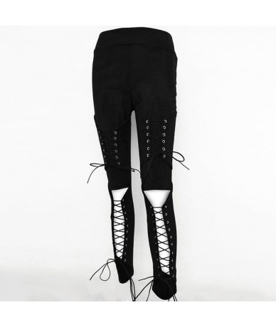 Lace Up Suede Leather Pants Women Autumn Jeans Hollow Out Skinny Sexy Trousers Women Bandage Long Casual Women Pants - Black...
