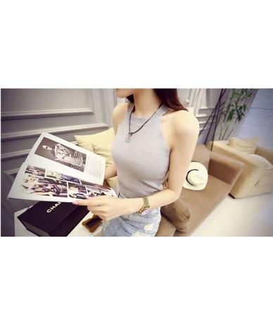 Summer Women Slim Knitting Halter Off-shoulder Tank Crop Tops Female Bodycon Knitted Camisole Sleeveless Short Tee shirts 61...