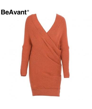 V neck knitting winter sweater dress Women oversize loose knitted dress female 2018 Autumn short dress casual pull femme - B...