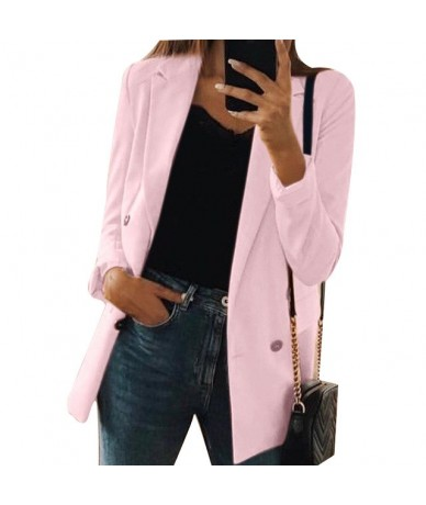 2019 Autumn Female Suit New Coat Female Fashion Solid Color Cardigan In The Long Section Of The Suit Jacket Female - pink - ...