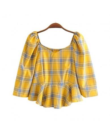 women elegant plaid square collar blouse three quarter sleeve side zipper shirts female stylish short tops blusas LB242 - ye...