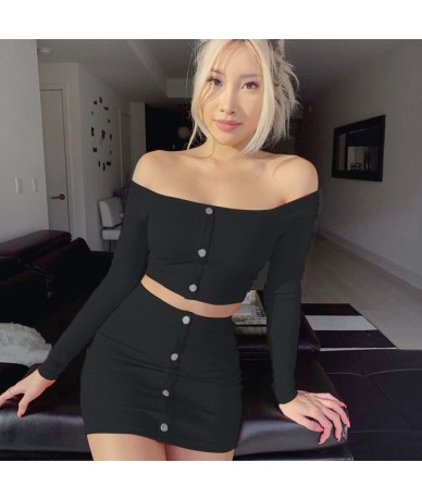 Fashion Outfits Bright Orange Women's Sets Buttons Long Sleeve Crop Tops Sexy Two Pieces Set Casual Bodycon Skirts - black -...