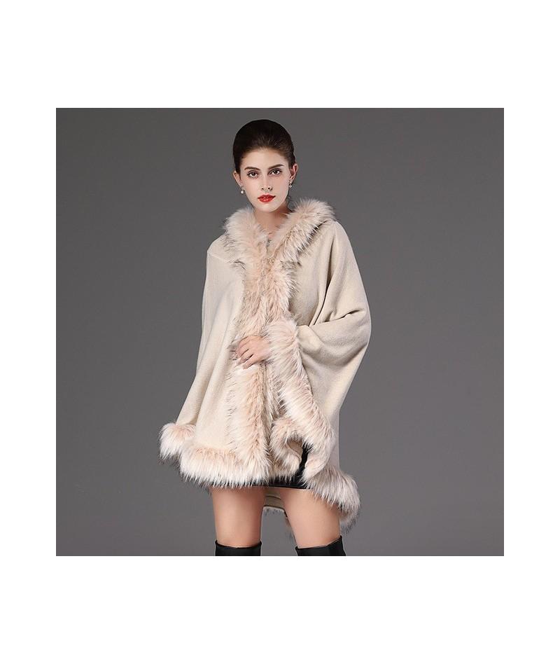 2018 Autumn Winter Women's knit Cape Shawl Coat Hooded Top Faux raccoon fur edge Cardigan Cloak Loose Female Sweaters OKXGNZ...
