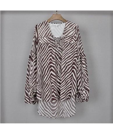 Casual Striped Women Blouse V Neck Lantern Sleeve Bandage Oversize Shirt Female Summer 2019 Fashion Clothes - Brown - 4D4122...