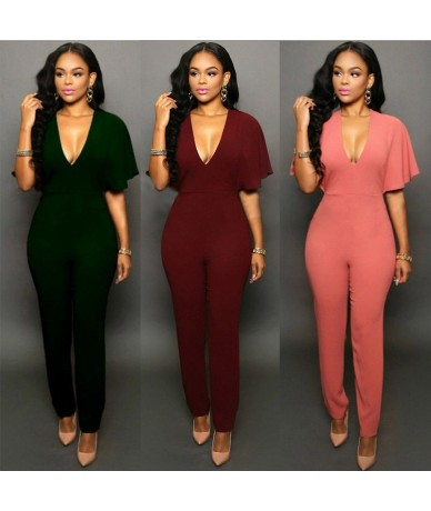 2016 New Women Clubwear V-neck Jumpsuits Party Slim Fit Solid Playsuits Romper Trousers - Pink - 4H3940114903-2