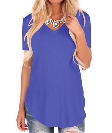Summer 2019 New Fashion Casual Women T-shirt V-neck Short Sleeve Design Long T Shirt Women Clothing Solid Women Tops Robe Et...