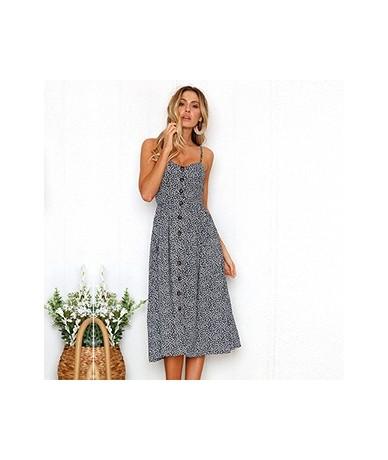 Women's Sexy Summer Backless Button Down Striped Print Swing Midi Dress With Pockets 2018 White Boho Vintage Beach Dress - i...