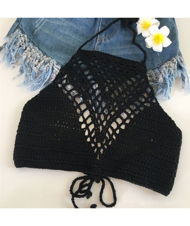 2019 New Vintage Crochet Crop Top Beachwear Sexy Hot Hollow Out Lace Bralette Knitting Handmade Y Tops Fitness Cropped - As ...
