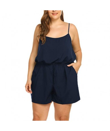 Women Summer Sleeveless V-Neck Spaghetti straps Rompers summer Solid color High Waist Short Jumpsuits Rompers Plus Size 5XL ...