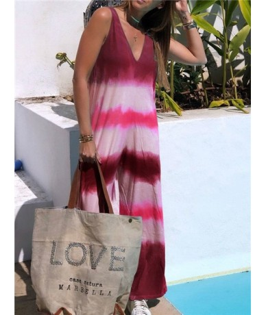 Summer Sexy Sleeveless Jumpsuit Elegant new gradient color Strip print Jumpsuit Overalls Loose Wide Trousers Leg Rompers - r...