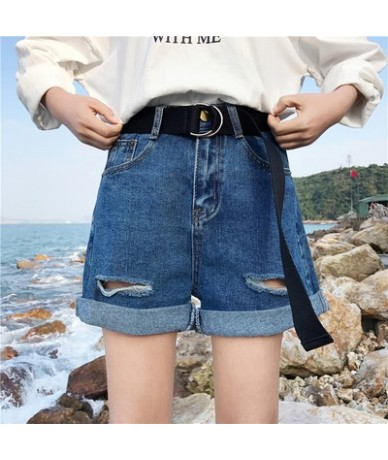 New Women Shorts Denim Summer High Waist Shorts Plus Size Hollow Out With Belt Harajuku Kawaii Sashes Casual Street - ShenLa...