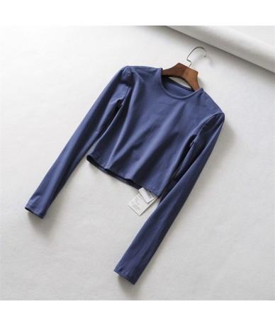 Women Slim Long Sleeve Fit Crop Tee - blue - 453069666052-5