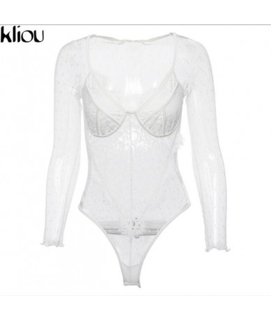 2018 Ladies Lace Bodysuit Womens Mesh Bodysuit Leotard Bodycon Sexy V-Neck Jumpsuit Long Sleeve Party Romper Clubwear Hot - ...