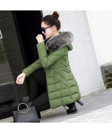 New Winter Jacket Female Parkas Hooded Fur Collar Thicken Warm Cotton Clothing Jacket Outerwear Slim Large Size Women Basic ...