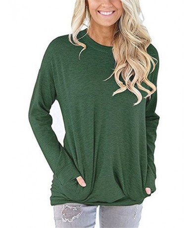 Women Autumn Round Neck Full Sleeve Cotton T shirt Loose Pockets Solid Winter Tee Shirts Ladies Large size Long Casual Tops ...