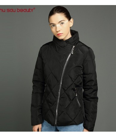 2019 new fashion women's parkas warm winter female jackets zipper stand collar ladies overcoats solid black - 3176 - 4C39143...