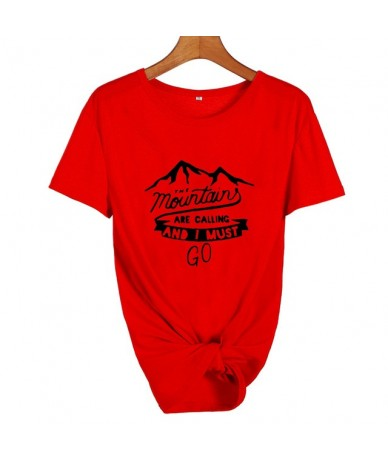 The Mountains Are Calling and I Must Go Travel Lovers Adventure Time Tshirt Camping Harajuku Graphic T Shirts Women Clothes ...