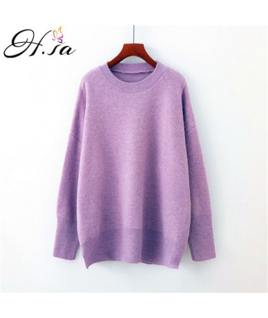 Women Candy Color Pullover Sweaters Oneck Solid Thick Warm Jumpers Pink Yellow Harajuku Pull Femme 2019 Spring kerst trui - ...