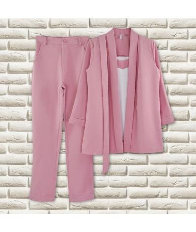Pants Suit V Neck Buttonless Bracelet Sleeves Blazer Jacket &Strap Vest &Full Length Pant 3 Piece Set OL Style - Light Blue ...