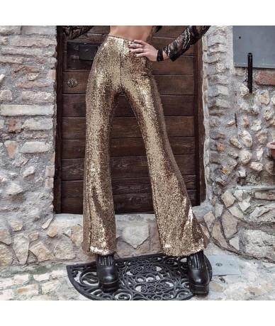 MisDream Glitter Sequin High Waist Pants Women Sexy Night Party Paillette Flare Pants Gold Clubwear Side Zipper Shining Trou...