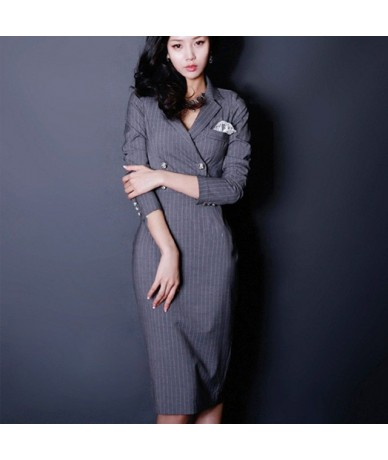 Double-breasted Striped Suits Dress Women 2018 Autumn Wear To Work Pencil Bodycon Dresses Sexy New Business Vestidos - Gray ...