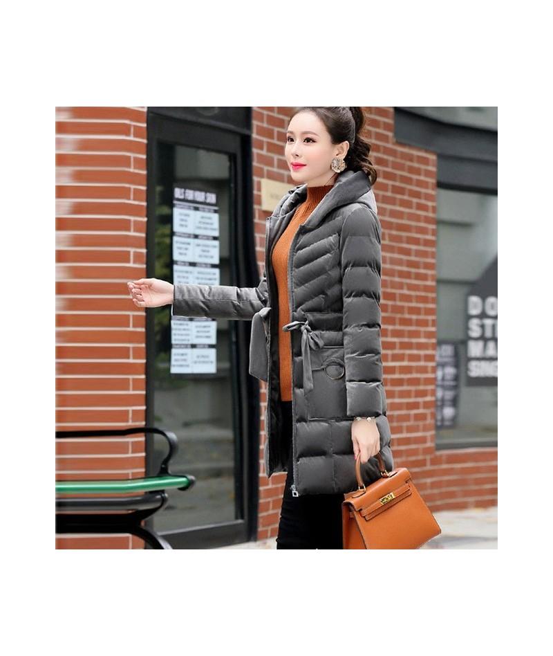 Winter Women Parkas Gold Velvet Cotton Padded Jacket 2019 Hooded Warm Cotton Coat Women Slim Thick Coat Winter Down Jacket L...