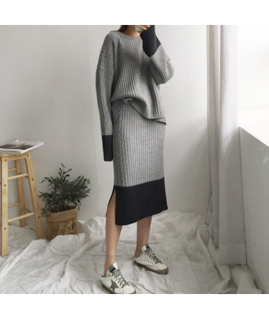 Korea 2019 autumn new fashion color matching christmas Loose pullover sweater + two-piece Skirt suit - 54111220108311
