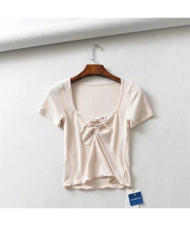 Women Square Neck Ribbed Crop Top with Drawstring Detail Frill Trim Short Sleeve Crop Tee - beige - 4K3093853688-1