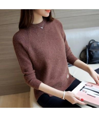 2019 spring autumn new women han edition fashion joker pure color short paragraph sweater cheap wholesale - Brown - 4P395913...