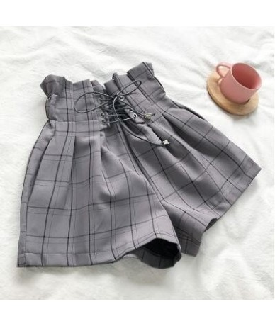 Summer new high waist lace up loose casual plaid shorts women - Gray - 483089032932-3
