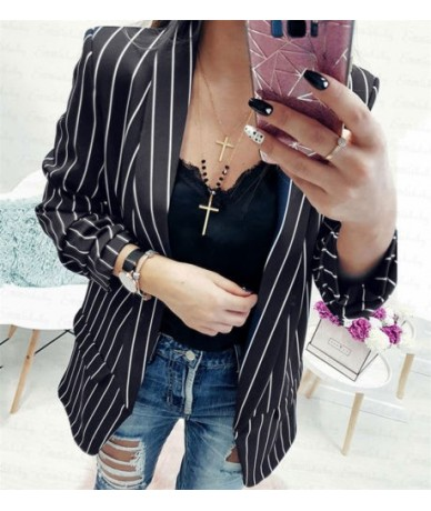 Women Casual Slim Striped Blazers Thin Solid Suit Blazer Jacket Outwear Cadigan Blazers Clothes For Female New Spring Autumn...