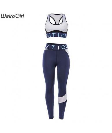 women 2 pieces clothing fitness sport suits high waist leggings slim bodybuilding sportswear gym jogging female - Blue - 423...