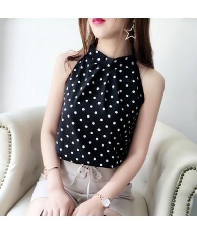 Chiffon Blouse Sleeveless Halter Shirt Stripe/Flower/Dot/Solid Tops 2019 Summer Woman Fashion Elegant Blusas 34714 - 34714 d...