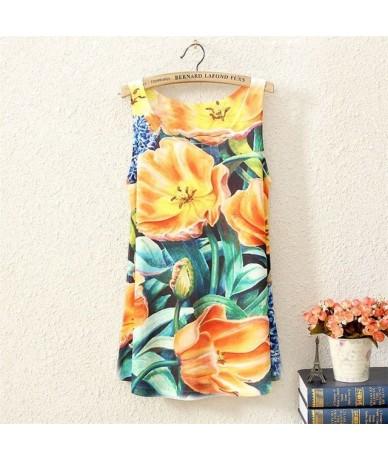 2015 New Style Fashion Vintage Spring Summer Women Sleeveless Graphic Print Digital Printing T Shirt Tee Blouse Vest Tank To...
